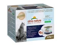 Консервы ALMO NATURE низкокалорийные для взрослых кошек тунец с курицей и ветчиной набор 4 шт. по 50 гр. Natural Light Meal - Tuna with Chicken and Ham