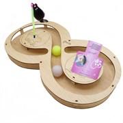 Игровой комплекс для кошек Glory Life Восьмерка с двумя шариками и игрушкой на пружине размер 49х27х3,6 см