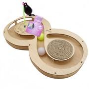 Игровой комплекс для кошек Glory Life Восьмерка с двумя шариками, игрушкой на пружине и когтеточкой из каната размер 49х27х3,6 см