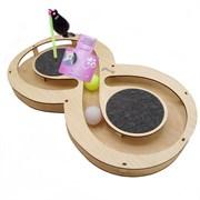 Игровой комплекс для кошек Glory Life Восьмерка с двумя шариками, игрушкой на пружине и когтеточкой из ковра размер 49х27х3,6 см