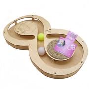 Игровой комплекс для кошек Glory Life Восьмерка с двумя шариками и когтеточкой из каната размер 49х27х3,6 см