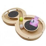 Игровой комплекс для кошек Glory Life Восьмерка с двумя шариками и когтеточкой из ковра размер 49х27х3,6 см