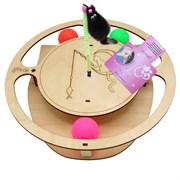 Игровой комплекс для кошек Glory Life Круг с тремя шариками и игрушкой на пружине размер 32х28х3,6 см