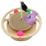 Игровой комплекс для кошек Glory Life Круг с тремя шариками, игрушкой на пружине и когтеточкой из каната размер 32х28х3,6 см
