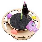 Игровой комплекс для кошек Glory Life Круг с тремя шариками, игрушкой на пружине и когтеточкой из ковра размер 32х28х3,6 см
