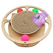Игровой комплекс для кошек Glory Life Круг с тремя шариками и когтеточкой из каната размер 32х28х3,6 см