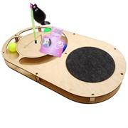 Игровой комплекс для кошек Glory Life Овал с тремя шариками, игрушкой на пружине и когтеточкой из ковра размер 49х27х3,6 см