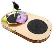 Игровой комплекс для кошек Glory Life Овал с тремя шариками, игрушкой на пружине, когтеточкой и площадкой из ковра размер 49х27х3,6 см