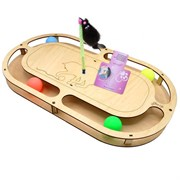 Игровой комплекс для кошек Glory Life Стадион с четырьмя шариками и игрушкой на пружине размер 49х27х3,6 см
