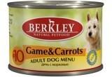 Консервы Berkley для Собак с дичью и морковью (Adult Game Carrots) №10, 200 г.