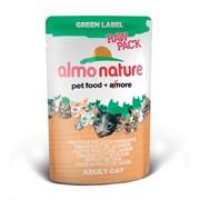 Пауч ALMO NATURE Green label Raw Pack Cat Chicken/Fish для взрослых кошек куриное филе с ветчиной 75% мяса