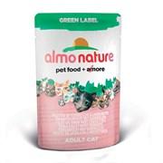 Пауч ALMO NATURE Green label Cat Tuna Fillet with Shrimps для взрослых кошек с филе тунца и креветками