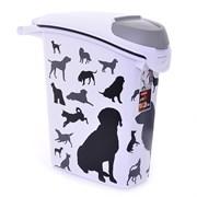 """Контейнер для корма Curver PetLife  """"Собаки""""  черно-белый, на10кг/23л, 23*50*50см"""