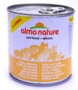 Консервы ALMO NATURE Classic Adult Salmon and Chicken для взрослых кошек с лососем и курицей