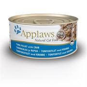 Консервы APPLAWS для взрослых кошек с тунцом и крабовым мясом Cat Tuna/Crab