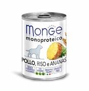 Паштет MONGE Monoprotein Fruits для собак из курицы с рисом и ананасами