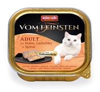 Консервы ANIMONDA Vom Feinsten Adult для взрослых кошек с курицей, филе лосося и шпинатом