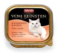 Консервы ANIMONDA Vom Feinsten Adult для кастрированных кошек с индейкой и лососем