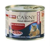Консервы ANIMONDA CARNY Senior для пожилых кошек с говядиной и сердцем индейки