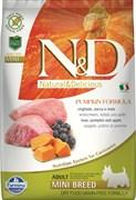 Беззерновой cухой корм FARMINA ND для взрослых собак мелких пород кабан с яблоком и тыквой