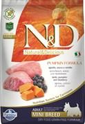 Беззерновой cухой корм FARMINA ND для взрослых собак мелких пород с ягненком с черникой и тыквой