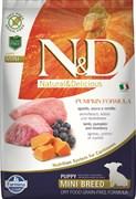 Беззерновой cухой корм FARMINA ND для щенков мелких пород янгенок с черникой и тыквой