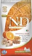 Низкозерновой cухой корм FARMINA ND для взрослых собак мелких пород рыба с апельсином
