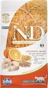 Низкозерновой cухой корм FARMINA ND для взрослых кошек рыба с апельсином